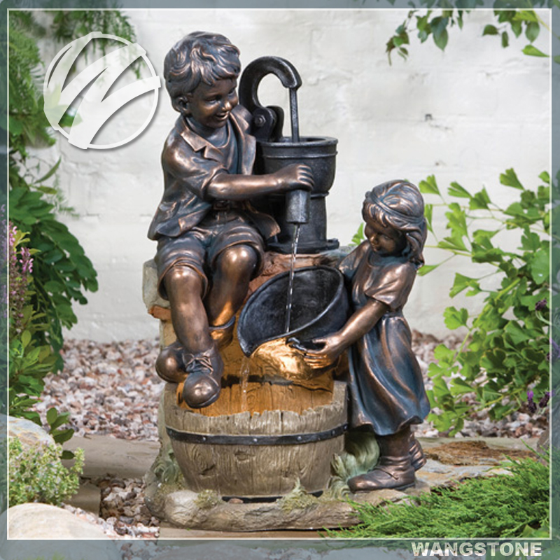 Bronze Boy And Girl Garden Water Feature Decor Statues