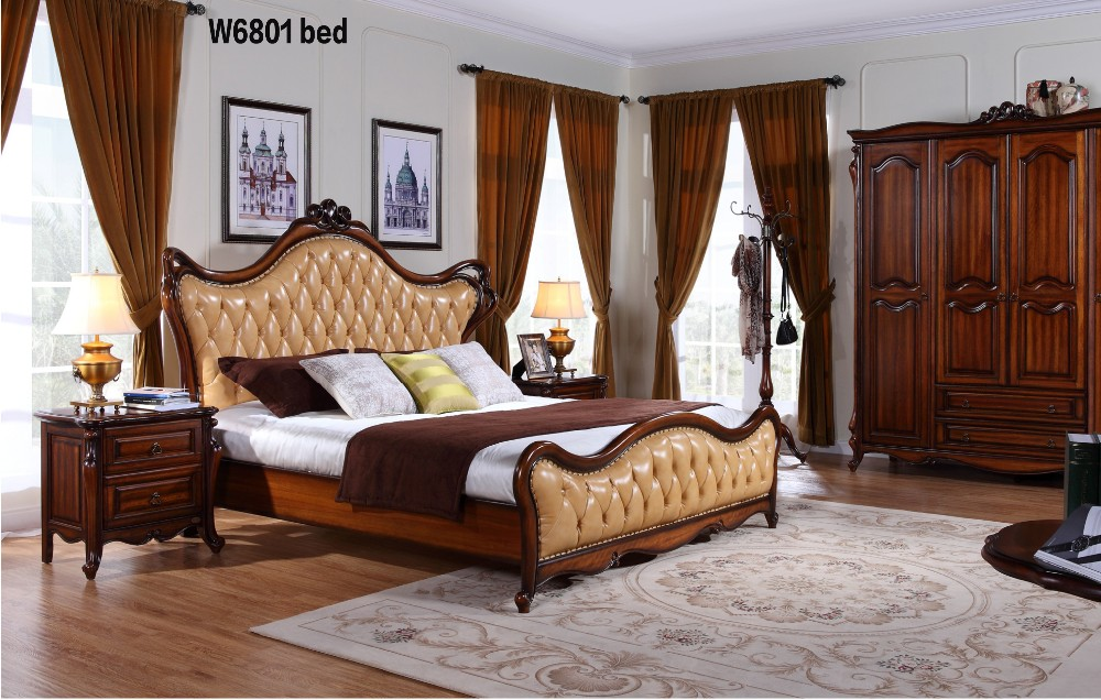 W6801 European Style Solid Wood Italian Leather Luxury Baroque Antique Master King Size Bedroom