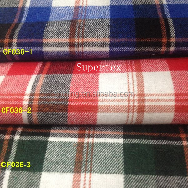 stock / ready bulk woven 21S Cotton brushed/flannel yarn dyed fabric