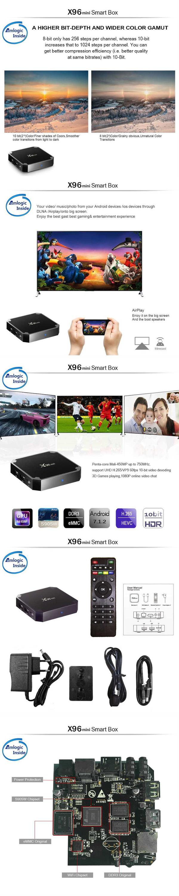 Amlogic s905w X96 mini S905W 1gb ddr3 8gb rom tv box android 7.0 set top box kdplayer 17.3
