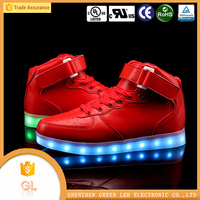 Winter hight cut red Unisex good quality waterproof light led shoes new 2016