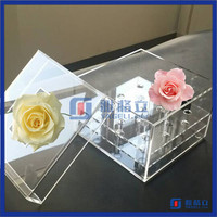 Factory direct selling plexiglass rose flower display stand clear acrylic flowers box