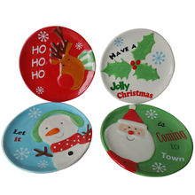 Round ceramic plates set with all kinds of Christmas hand-painting design