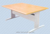 Stainless steel wood office reading desk for 6 person