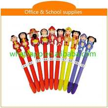cartoon shape lovely polymer clay ball pen fiber glass pen