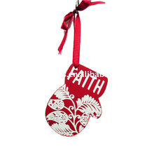 Wood glove shape belive printed christmas decoration plaque