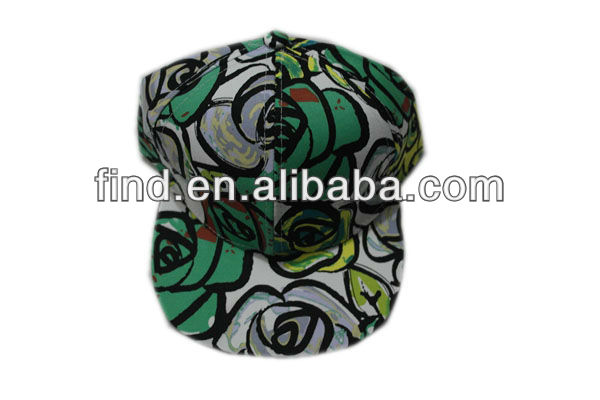 fashion snapback waxed cotton 5 panel floral printing bucket hat