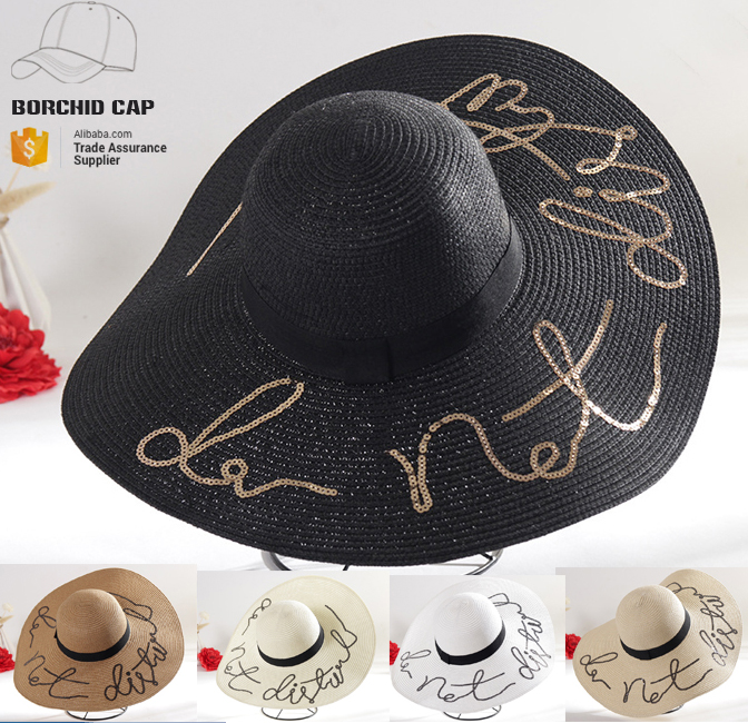 2017 summer wide brim floppy hat beach straw hat embroidery cheap wholesale paper ladies paper straw hats