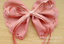 Factory supplier pink fabric bowknot with satin ribbon
