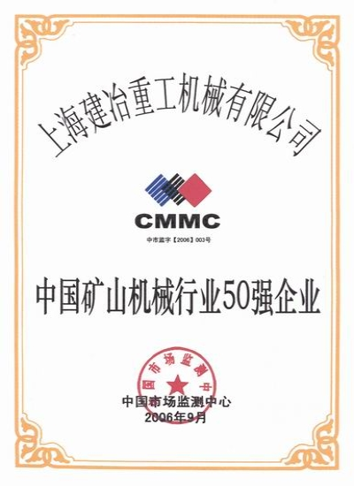 Medal for Top 50 Enterpprices in Mining Machinery Field in China