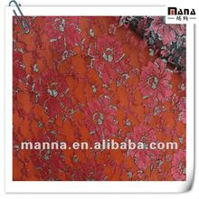 100%Polyester Organza Floral Lace Fabric with Sequence Yarn Textile for Dress Fashion 2012