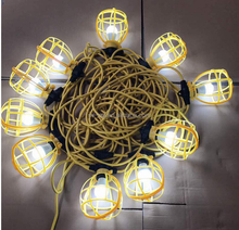 100ft Temporary unique Work Construction plastic Cages outdoor lighting yellow color string lights