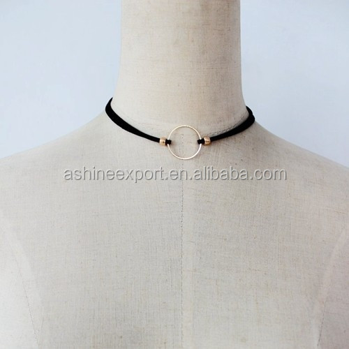 Dainty Double Suede Strap Choker Big Metal Circle Choker Necklace