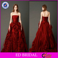 A Line Lace Tulle Chinese Crochet Red Wedding Dress