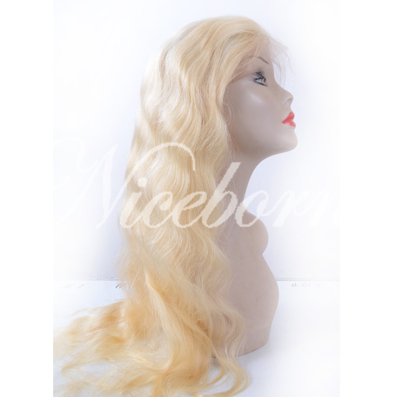 New Cheap blonde Brazilian Virgin Human Hair Glueless Full Lace Wigs 613 Lace Front Wig