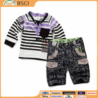 Top Quality Fashion Breathable Short Sleeve T-shirt and Short Pants Suit Children Boy Clothing Set