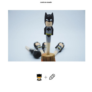 cartoon figure bat man wooden carved ballpoint pen for gifts/Brand custom logo low price kids gift 3d wooden animal pen
