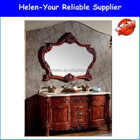 Classic Oak Wood Floor Standing Double Sinks Bathroom Cabinet No.1523 Antique Luxury Vanities