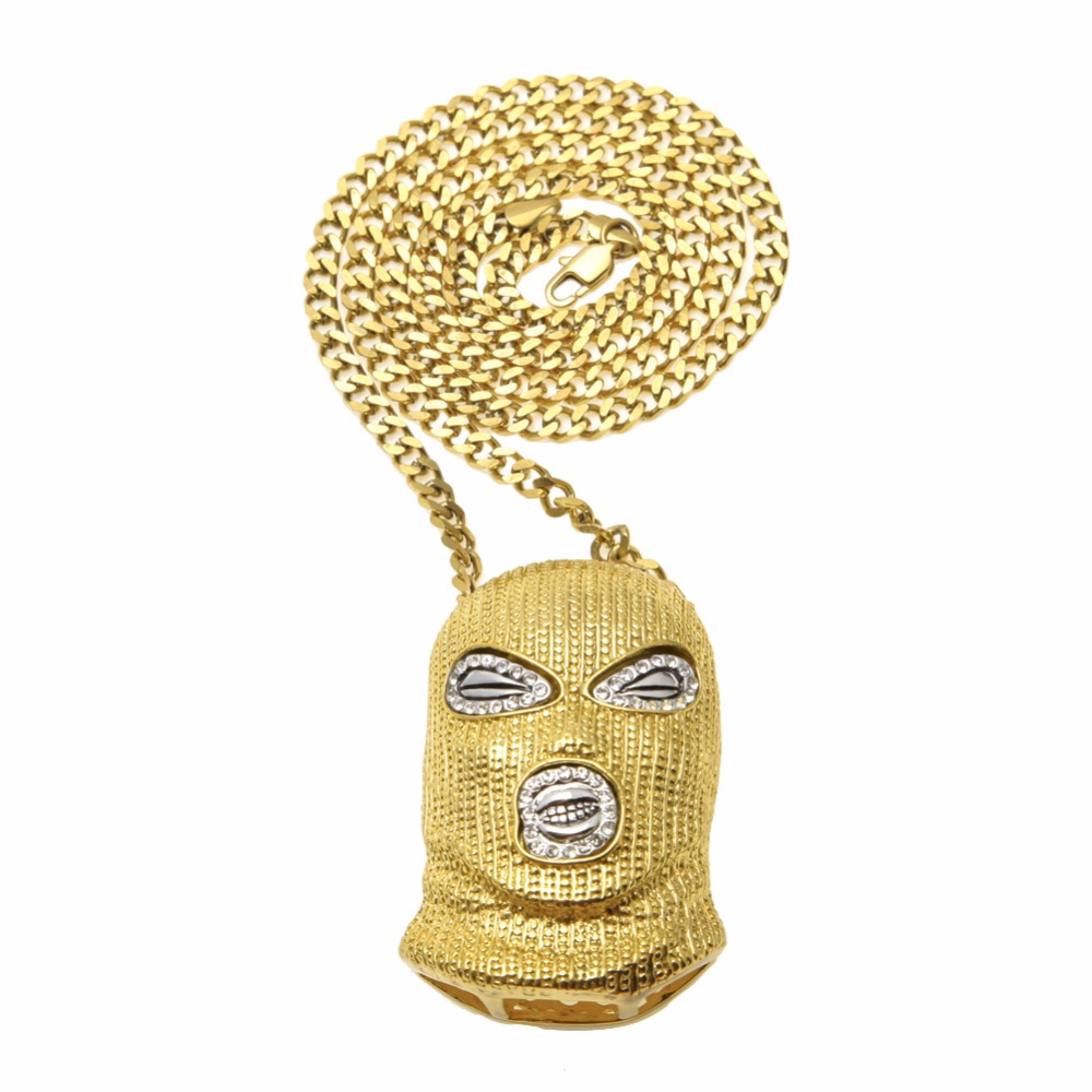 Mens Hip Hop Iced out Gold GOON SKI MASK PENDANT NECKLACE