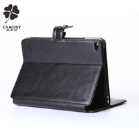 Guangzhou leather factory new design black leather tablet cover case for ipad air 1/2/3/pro with card wallet holder and stand
