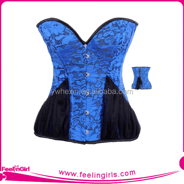 Wholesale Blue Steam Sexy Western corset Tops With Chiffon Hips