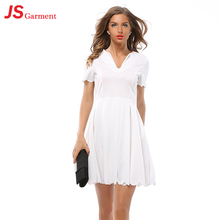 JS 20 Occident new women dress with big swing skirt V-neck short-sleeved pleated petals wave side dress 9006