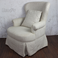 antique french style linen Upholestered Dining Chair Dining Chair wooden sofa chair