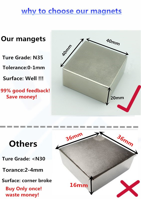 Neodymium magnet 40x40x20 mm gallium metal super strong magnets 40*40*20 square Neodimio magnet magnetic for water meters