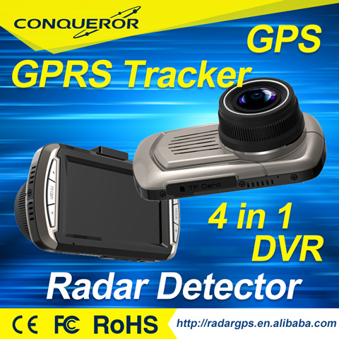Taiwan company Anti police detector high quality speed gun radar 4 in 1 with G-sensor GPS dvr camera and GPS tracker