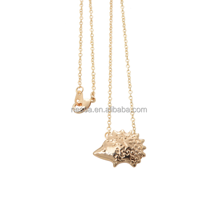 18K Gold Plated Hedgehog Simple Necklace for Women Vintage Animal Women Couple Necklaces NSYH-0007