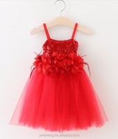 2016 Christmas constume baby girl feather flower harness sequins skirt holiday dress