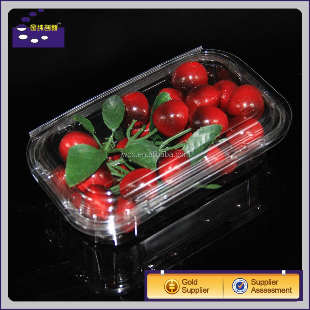 Food Grade Clear PET Plastic Cherry Fruit Packaging Box / Strawberry Clamshell