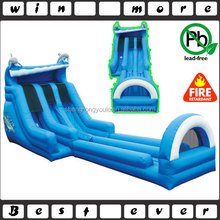 dual lane inflatable dolphin slide with long landing