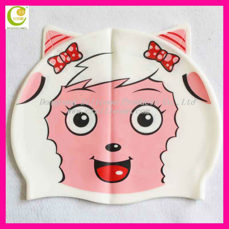 Popular cute animal shapes design water-proof funny custom silicone kids swimming caps with your own logo