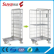heavy duty logistic trolley storage cage moving carts with 4 wheel
