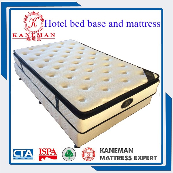 Hotel bed base and mattress
