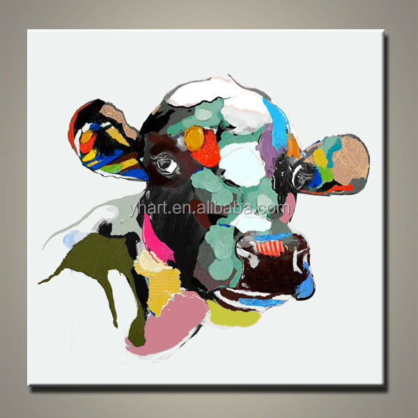 Modern Handmade Abstract Colorful Cow Painting For Sale