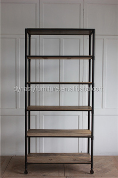 classical decorative solid wood and metal book wall shelf