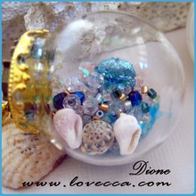 Miniature Christmas Ornaments Glass Dome with gold metal base VI