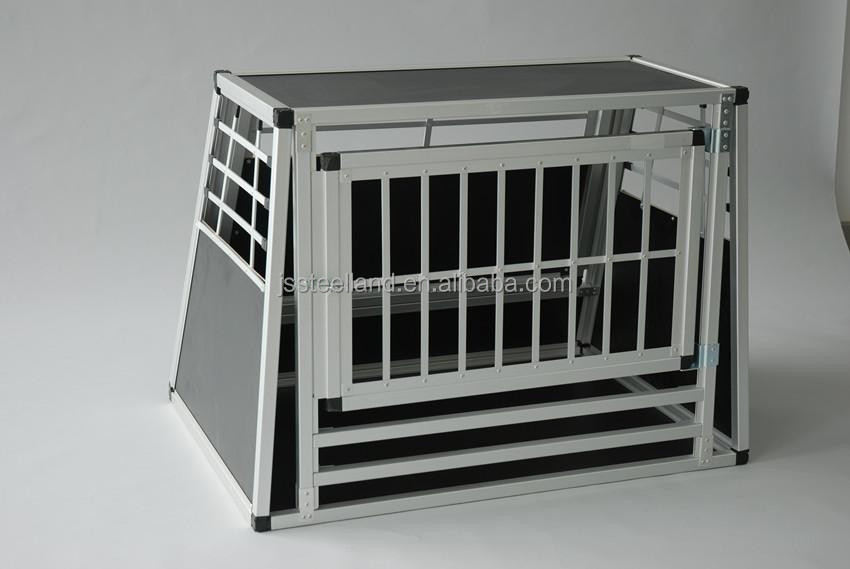 folding durable one door with saftey exit aluminum dog cage