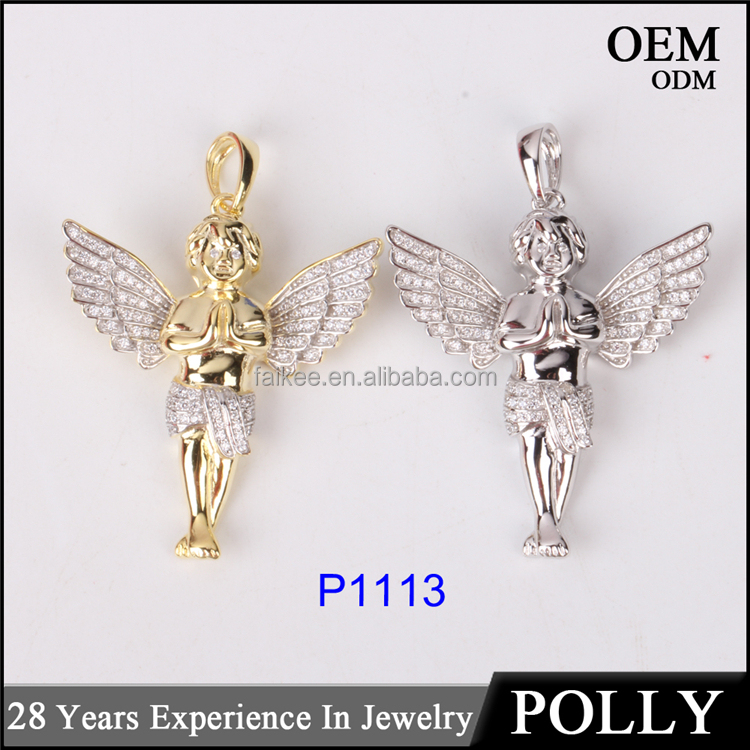 Hot selling 925 silver angel pendant real hip hop jewelry angel