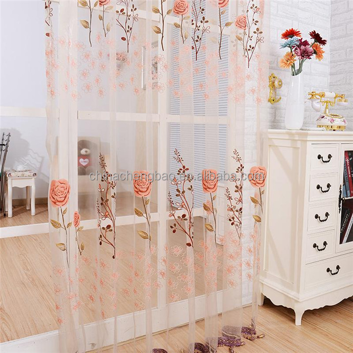 Latest curtain designs floral voile beaded fringe window curtains