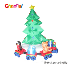 Inflatable Christmas tree with rotating train/ LED sitting the penguin &teddy bear