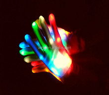 LED Light-Up Rainbow Gloves Colorful Flashing Light-emitting Halloween Gloves