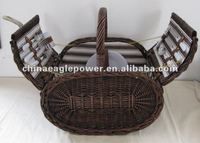 wicker picnic basket for two couple