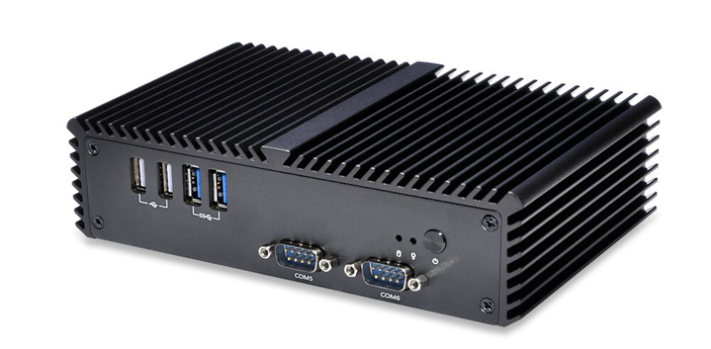 2016 x86 cheap fanless mini industrial pc with 6 RS232 COM ports 2 RJ45 Lan ethernets
