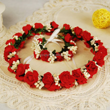 Red paper flowers wreaths wrist corsage set