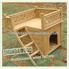 SDD01 classical wooden dog house with roofed balcony