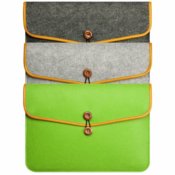 Envelope Style Wool Felt Laptop Case Sleeve Bag for Tablet