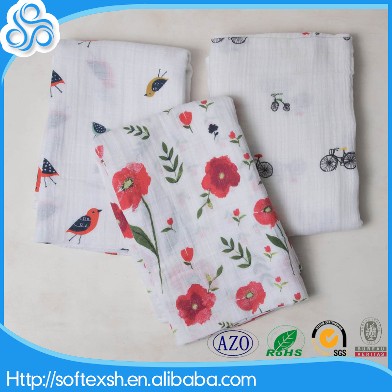 MSR025 good breathable wholesale printed baby organic 100% cotton gauze muslin squares